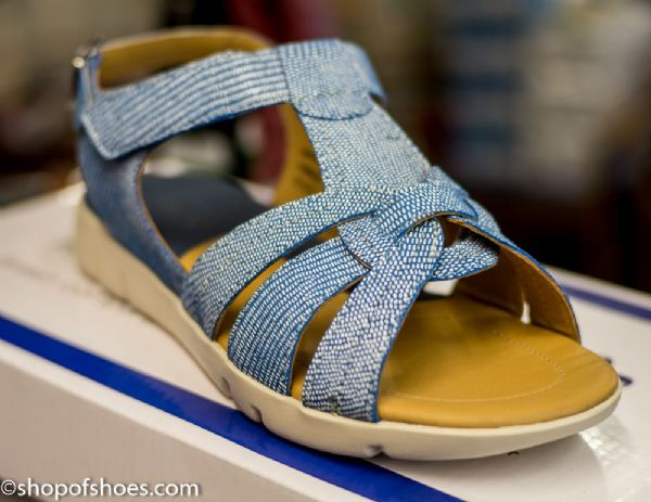 Padders petal EE fit  pretty blue printed leather sandal.